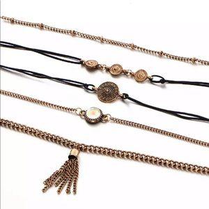 {LYANNA} boho moonstone medallion bracelet set